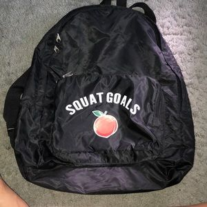 """Squat goals "" gym backpack ."
